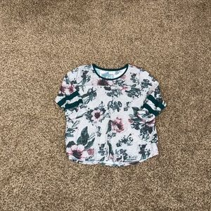 Maurices Grey Green and Purple Floral Baseball Top